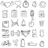 Set of hand drawn healthy lifestyle icons set. Royalty Free Stock Photography