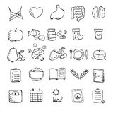Set of hand drawn healthy lifestyle icons set. Stock Images
