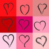 Set of hand drawn heart shapes royalty free illustration