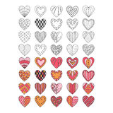 Set of hand drawn heart symbols Stock Image