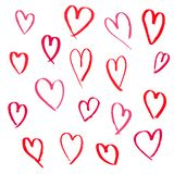 Set of hand drawn hearts on white background royalty free illustration