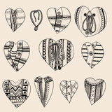 Set of hand drawn hearts Stock Photography