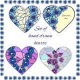Set of hand drawn hearts Stock Image