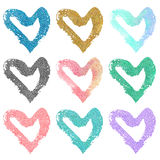 Set of hand drawn hearts with glitter. Isolated on white background Royalty Free Stock Photos
