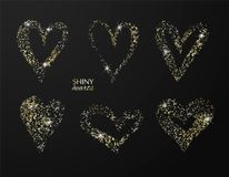 Set of hand drawn hearts with golden glitter. Vector design element for invitations, brochures, banners and other vector illustration