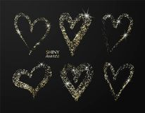 Set of hand drawn hearts with golden glitter. Vector design element for invitations, brochures, banners and other. vector illustration