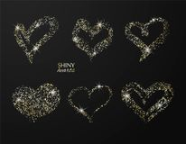 Set of hand drawn hearts with golden glitter. Vector design element for invitations, brochures, banners and other. stock illustration