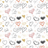 Set of hand drawn hearts. Happy Valentines Day. I love You.  Royalty Free Stock Photos