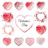 Set of 13 hand drawn hearts. Set of sketched red hearts. 13 hand drawn love symbols with pen scribbles, pencil scratches and grunge splashes. Sketchy vector royalty free illustration