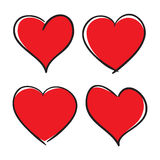 Set of Hand Drawn Hearts. Vector design elements Stock Photo