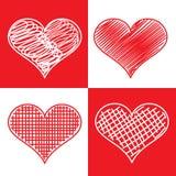 Set of hand drawn hearts Stock Photo