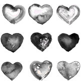 Set of hand drawn hearts Stock Image