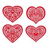 Set hand drawn hearts on white background stock illustration