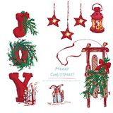 Set hand-drawn holiday gifts and Christmas wreath.  Royalty Free Stock Images