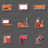 Set of hand drawn home appliances stickers Stock Images