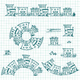 Set of hand drawn houses.Different building brushes collection. EPS vector Royalty Free Stock Photo