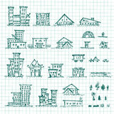 Set of hand drawn houses.Different building sketch collection. EPS vector Stock Image
