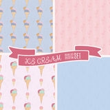 Set of hand drawn ice cream vintage pattern. Cute cartoon retro ice cream background for your design. Royalty Free Stock Photography