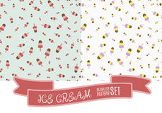 Set of hand drawn ice cream vintage pattern. Cute cartoon retro ice cream background for your design. Stock Image