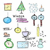 Set Hand drawn icon Winter Royalty Free Stock Photos