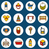 Set of hand drawn icons on baby care theme: nipple Royalty Free Stock Image
