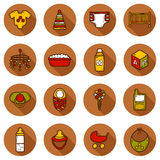 Set of hand drawn icons on baby care theme: nipple Royalty Free Stock Photos