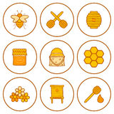 Set of hand drawn icons on beekeeping theme Stock Photo