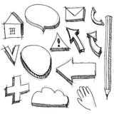Set hand drawn icons black lines on white background. Stock Photography