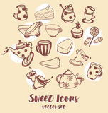 Set of hand drawn icons, cute tea things Stock Images