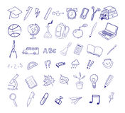 Set of hand drawn icons. Education, back to school. Royalty Free Stock Photo