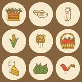 Set of hand drawn icons on farm products theme Stock Image