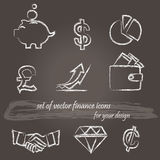 Set of  hand drawn icons for finance/business design. Vector illustration Royalty Free Stock Photos