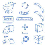 Set of hand-drawn icons for online shop. A set of hand-drawn icons for online shop stock illustration