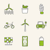 Set of hand drawn icons on renewable energy theme Royalty Free Stock Photography
