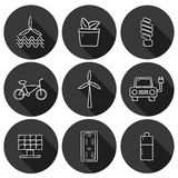 Set of hand drawn icons on renewable energy theme Stock Images
