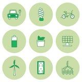 Set of hand drawn icons on renewable energy theme vector illustration