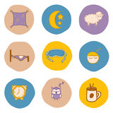 Set of hand drawn icons on sleep theme Royalty Free Stock Images
