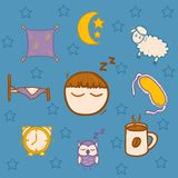 Set of hand drawn icons on sleep theme Stock Image
