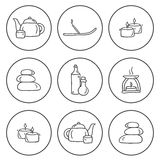 Set of hand drawn icons on spa theme Royalty Free Stock Photos