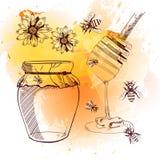 Set of hand drawn illustrations, honey. VECTOR illustration. Orange & yellow abstract background. HONEY illustration, sketched art Stock Image
