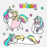 Set of hand drawn illustrations of magic unicorns, a unicorn with a cat, a girl with a unicorn.