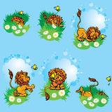Set hand drawn images with funny lion play with butterfly on blu Stock Photos