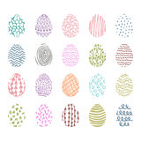 Set of 20 hand drawn ink eggs for Easter greeting card Royalty Free Stock Images