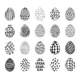 Set of 20 hand drawn ink eggs for Easter greeting card Royalty Free Stock Photo