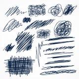 set of hand drawn ink pen scribbles vector illustration