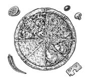 Set of hand drawn ink pizza and ingredients. Black Royalty Free Stock Photo