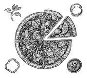 Set of hand drawn ink pizza and ingredients. Black Royalty Free Stock Photography