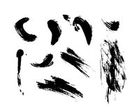 Set of hand drawn ink textures and brush strokes. Stock Image
