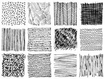 Set of hand drawn ink textures. Simple  scratchy patterns Stock Images