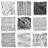 Set of hand drawn ink textures. Simple  scratchy patterns Stock Photos